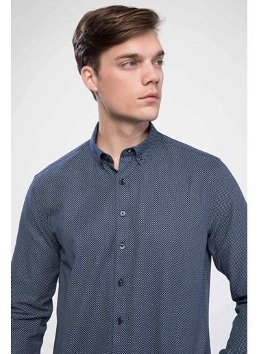 DeFacto Modern Fit Kolay Ütülenebilir Gömlek Mavi